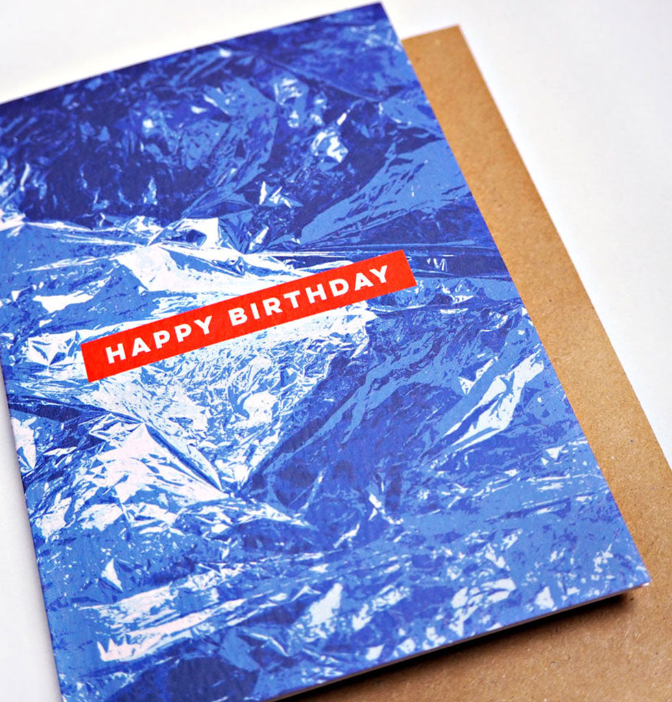 BLUE FOIL BIRTHDAY CARD