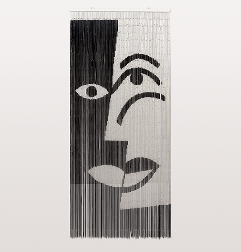 BLACK AND WHITE FACE BAMBOO DOOR CURTAIN