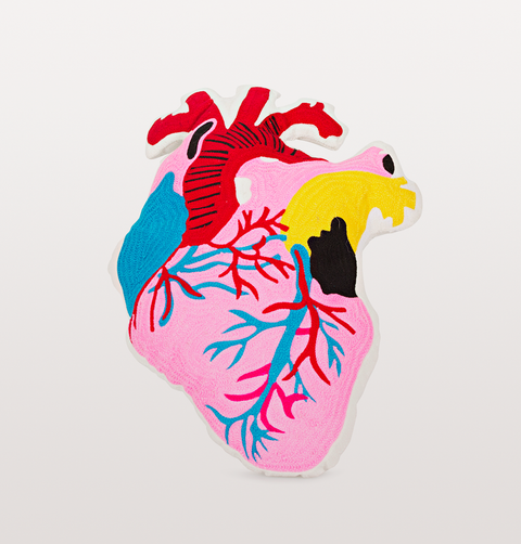 anatomical multi coloured needlework heart cushion by kitsch kitchen