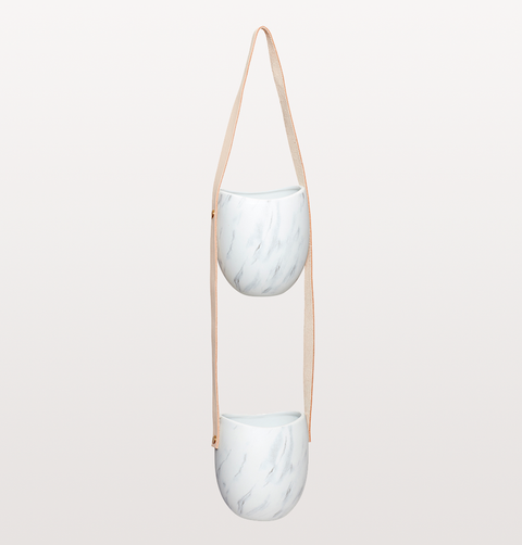 MARBLE LEATHER HANGING POT DOUBLE