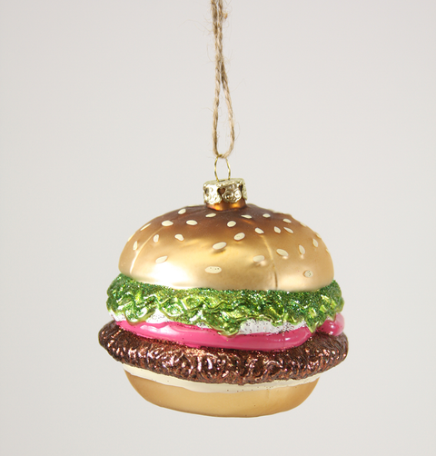 HAMBURGER GLASS CHRISTMAS DECORATION