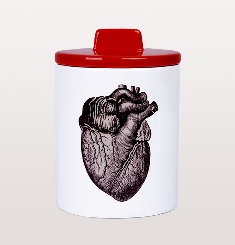 W.A.GREEN | KITSCH KITCHEN | The black and white heart design is set off against the lovely bright red lid. Medium sized storage jar. Perfect lidded jar in the kitchen for tea and coffee, in the bathroom for cotton wool pads or in the bedroom for hair bands, you'll love it. £32 wagreen.co.uk