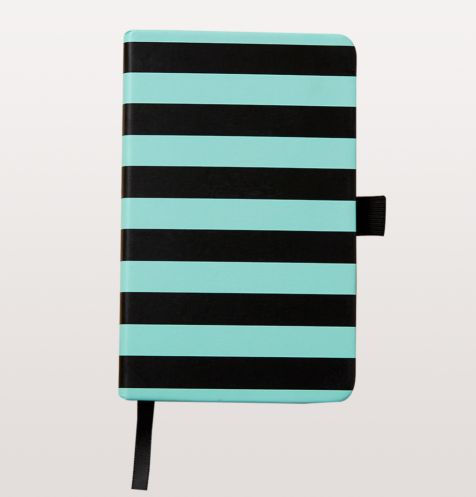 A6 STRIPED GREEN AND BLACK NOTEBOOK
