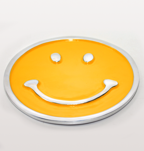 FLAT YELLOW SMILEY FACE TRIVET STAND
