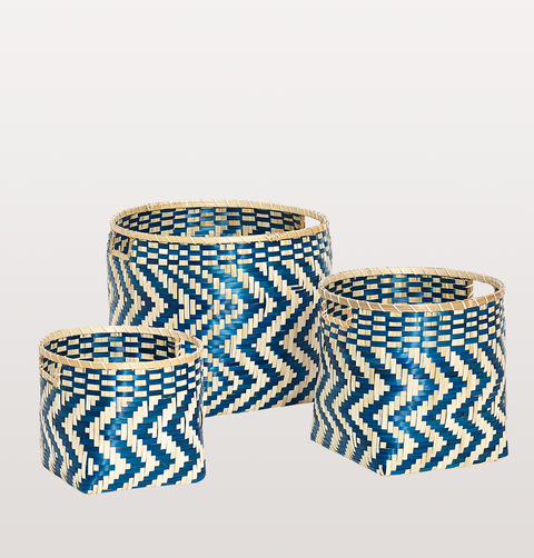 BAMBOO BLUE NATURAL ZIG ZAG PATTERN BASKET SET