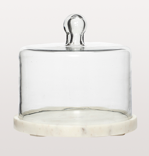 GLASS BELL JAR W MARBLE BASE