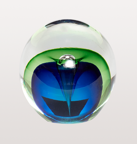 BLUE GREEN GLASS PAPERWEIGHT