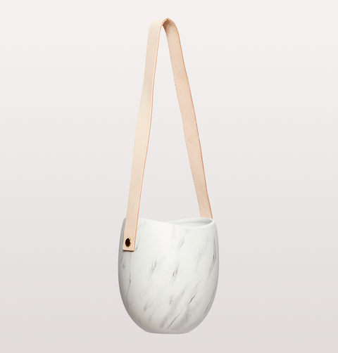 MARBLE & LEATHER HANGING POT SINGLE