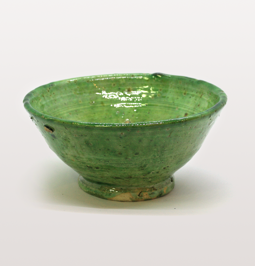 Small green Moroccan meze bowl or dish for hummus