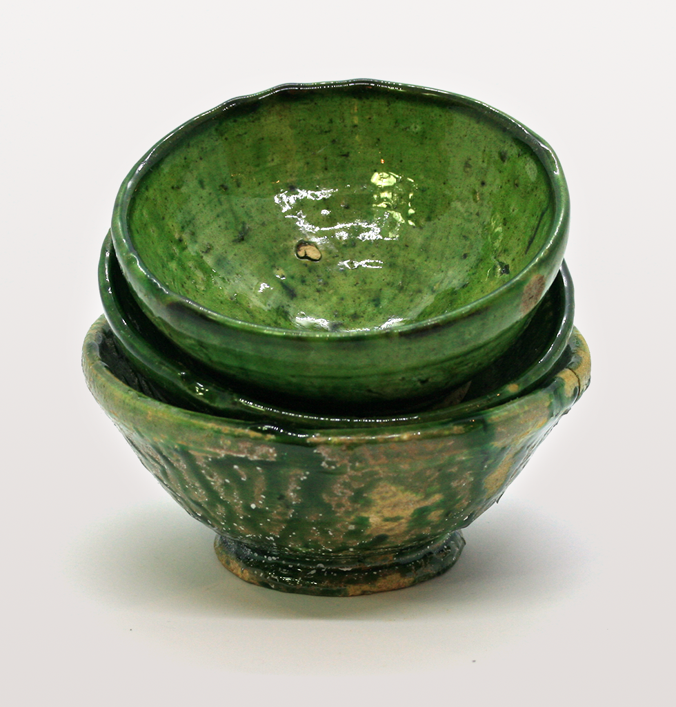 Stack of mini green meze dishes or bowls from Morocco