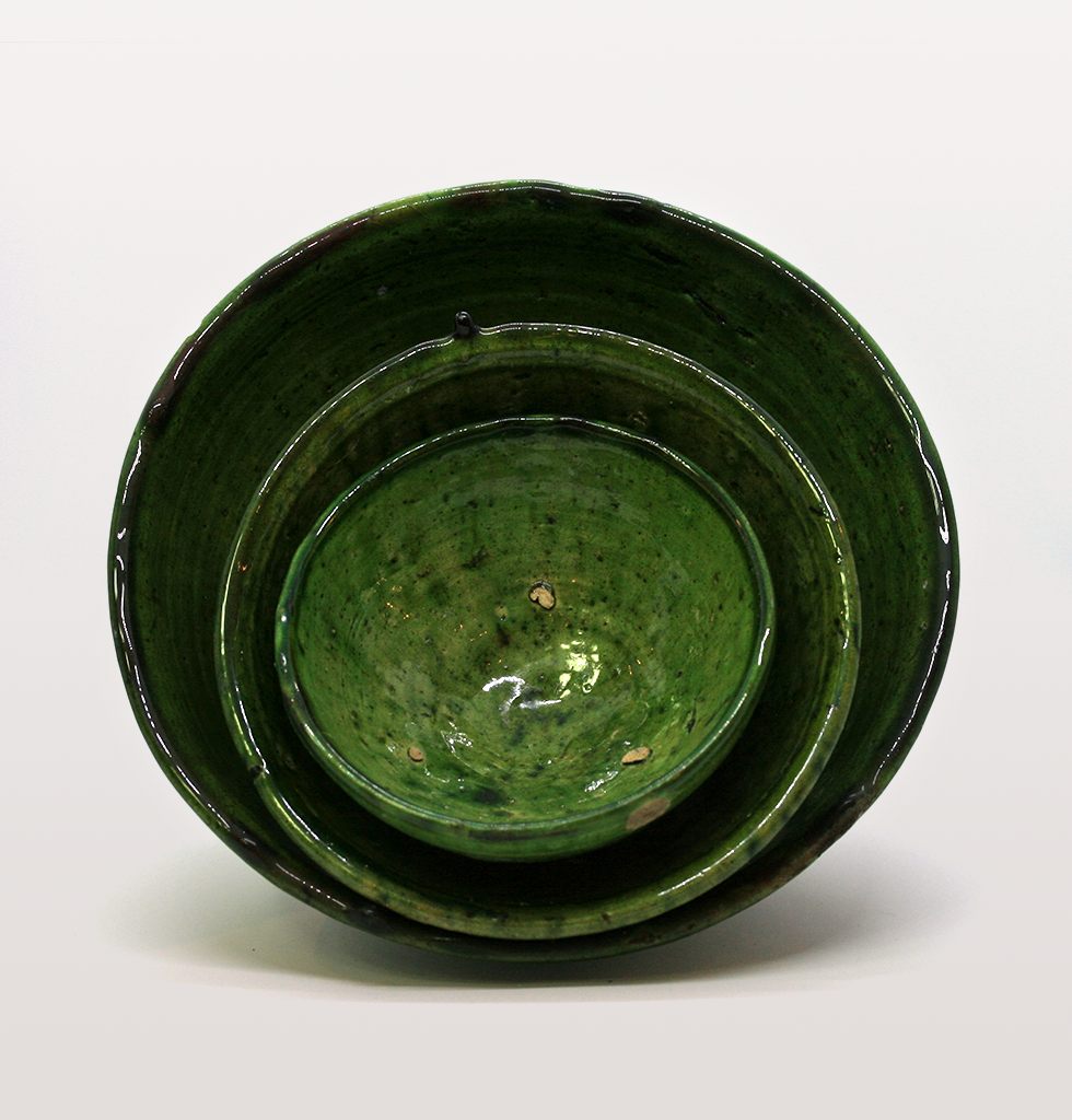 Mini Moroccan meze dish or bowl in green with large bowls. wagreen.co.uk
