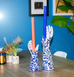 HANDS UP! BLUE AND WHITE HAND CANDLEHOLDER LARGE AND SMALL SITU BY POLS POTTEN