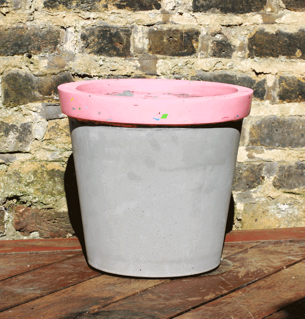 Concrete Candy jumbo concrete planters with pink tutti frutti terrazzo. £96 wagreen.co.uk