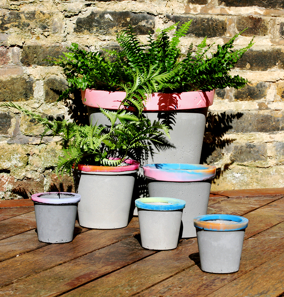 Concrete candy plant pots multi coloured planters