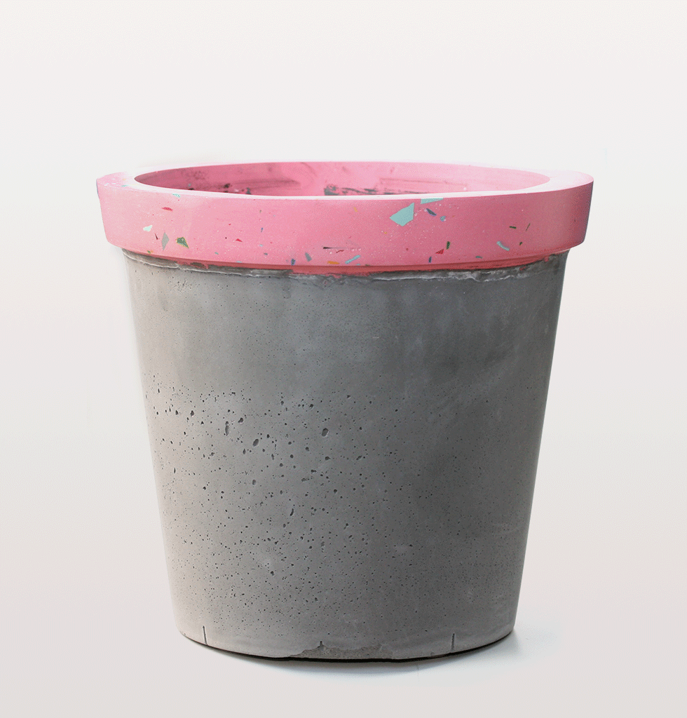 pink and grey terrazzo large jumbo huge indoor decorative planter