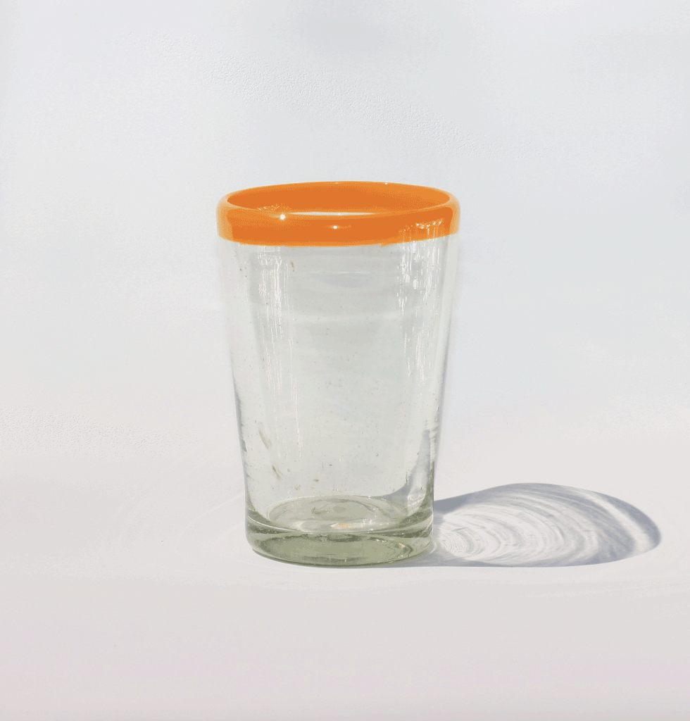 MEXICAN CLEAR YELLOW RIM GLASS TUMBLER MILAGROS