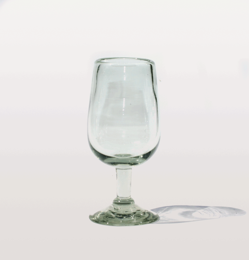 MEXICAN CLEAR TULIP WINE GLASS MILAGROS