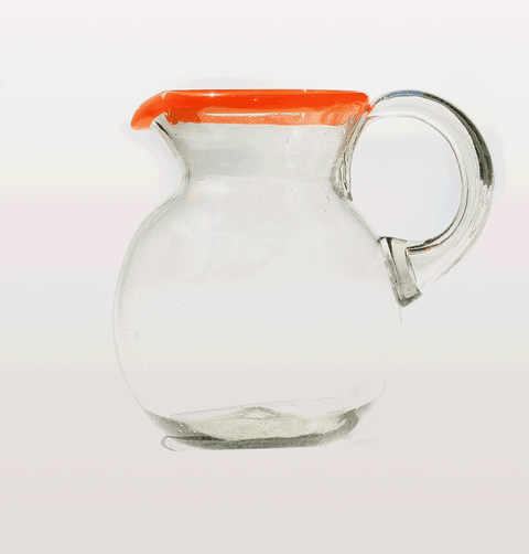 CLEAR GLASS ROUND MEXICAN JUG WITH ORANGE RIM