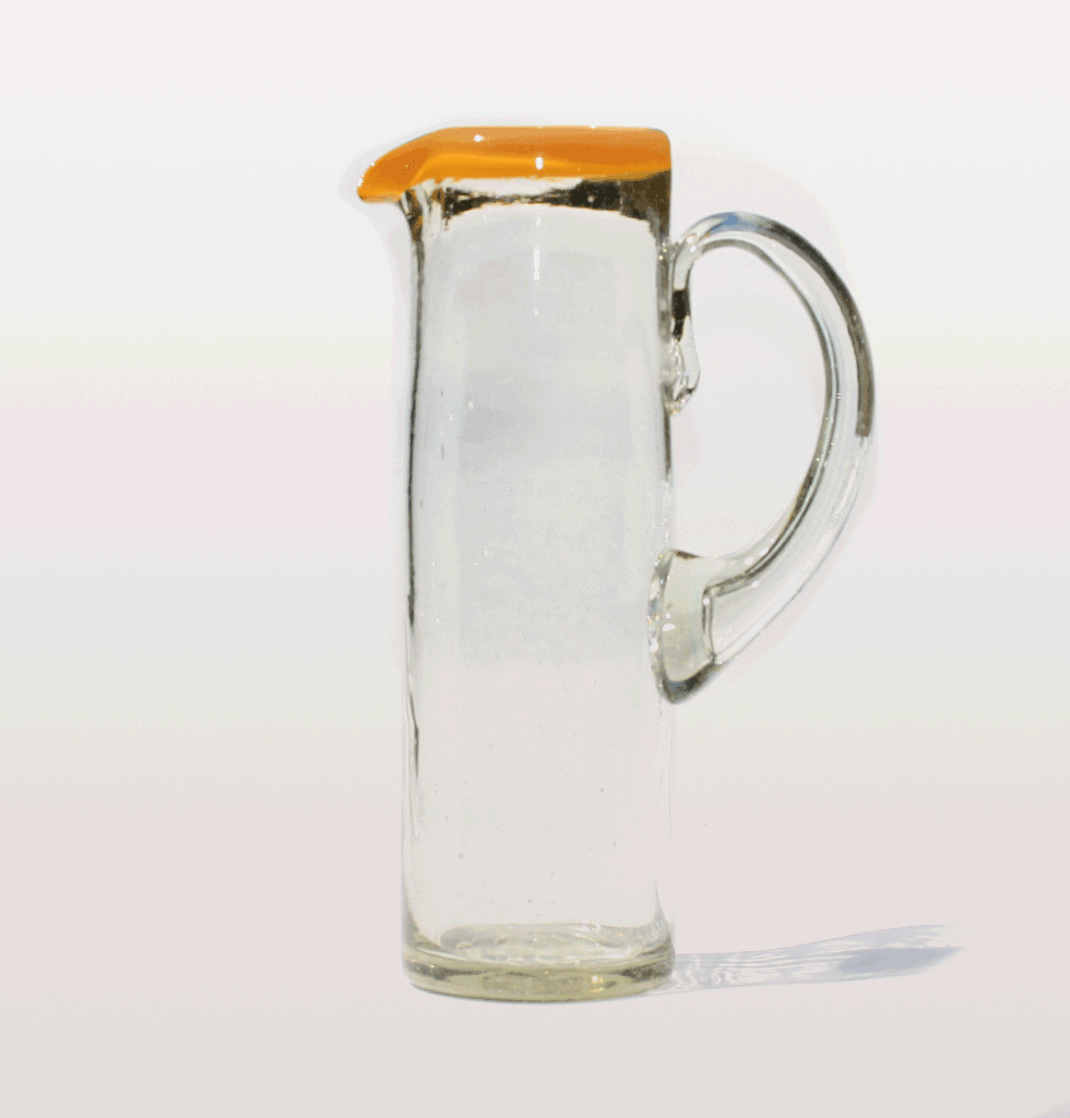 TALL YELLOW RIM MEXICAN GLASS JUG MILAGROS