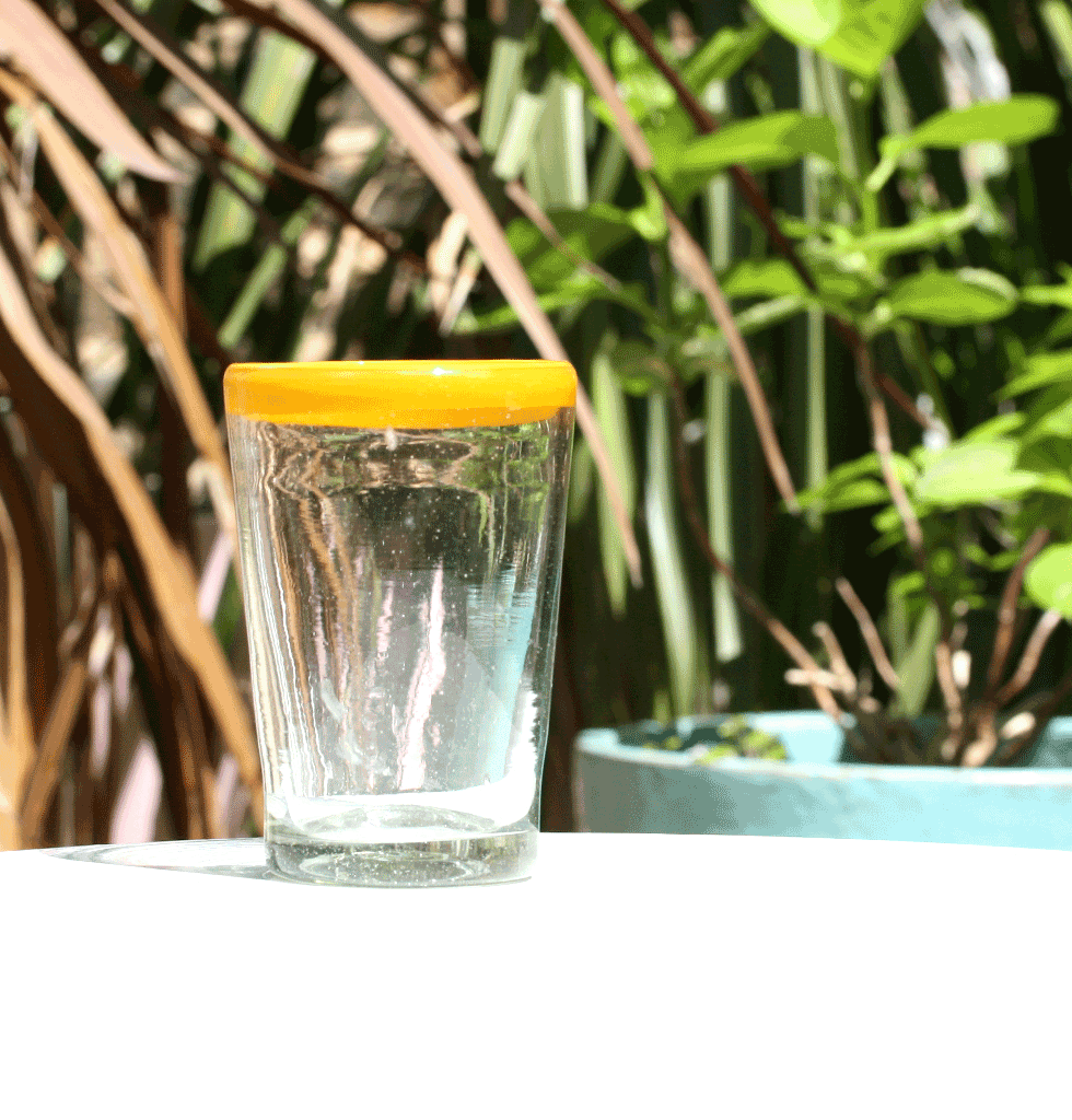 MEXICAN MILAGROS CLEAR GLASS TUMBLER WITH YELLOW RIM