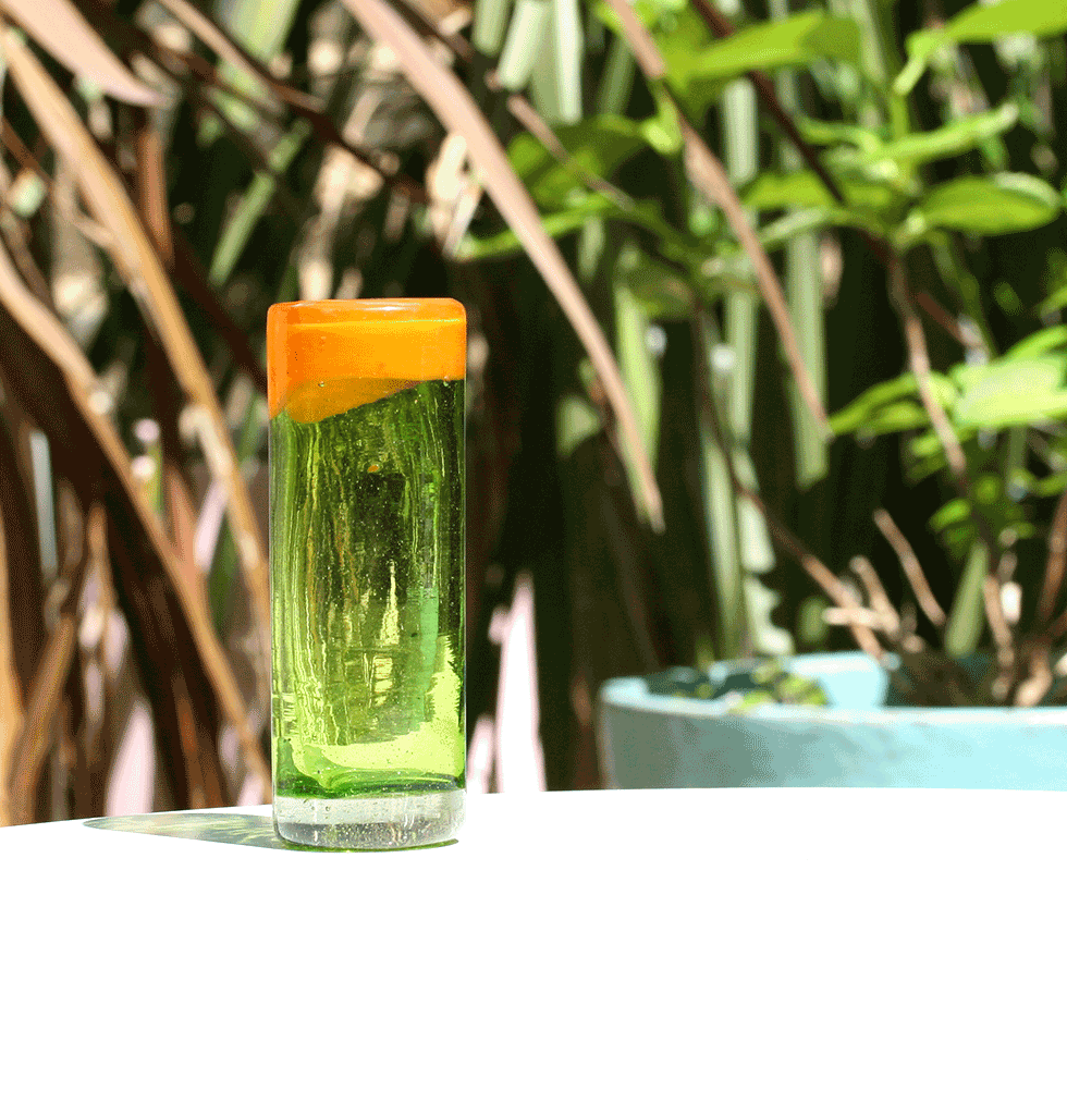 W.A.GREEN | MEXICAN GLASSWARE | MEXICAN TALL TEQUILA SHOT GLASS ORANGE AND GREEN. £8 wagreen.co.uk