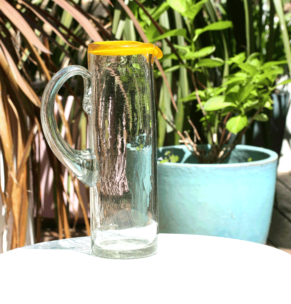 MEXICAN CLEAR TALL GLASS JUG BY MILAGROS WITH YELLOW RIM