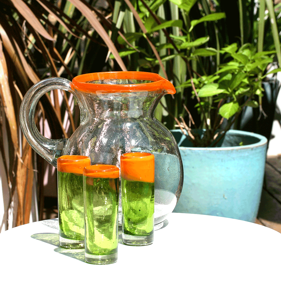 W.A.GREEN | MEXICAN GLASSWARE | MEXICAN TALL TEQUILA SHOT GLASS ORANGE AND GREEN WITH ORANGE RIM JUG. wagreen.co.uk