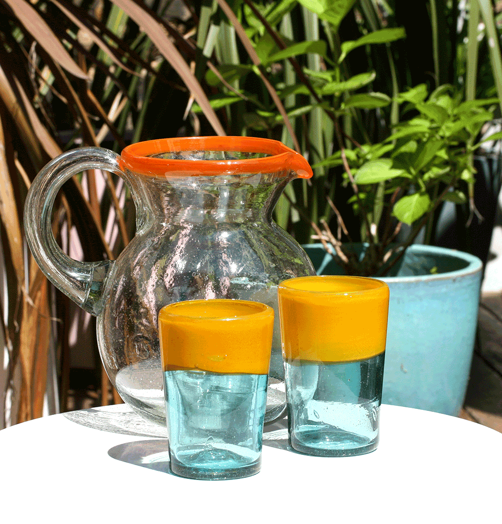 MEXICAN CLEAR ORANGE GLASS JUG BY MILAGROS WITH ORANGE AND TURQUOISE BLUE DRINKING GLASSES