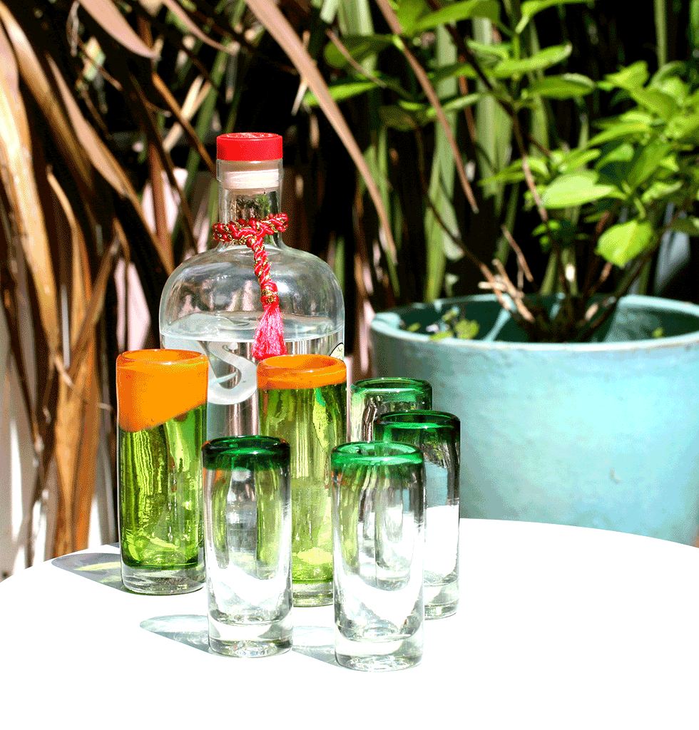 MEXICAN TEQUILA SHOT GLASSES WITH COLOURED RIMS