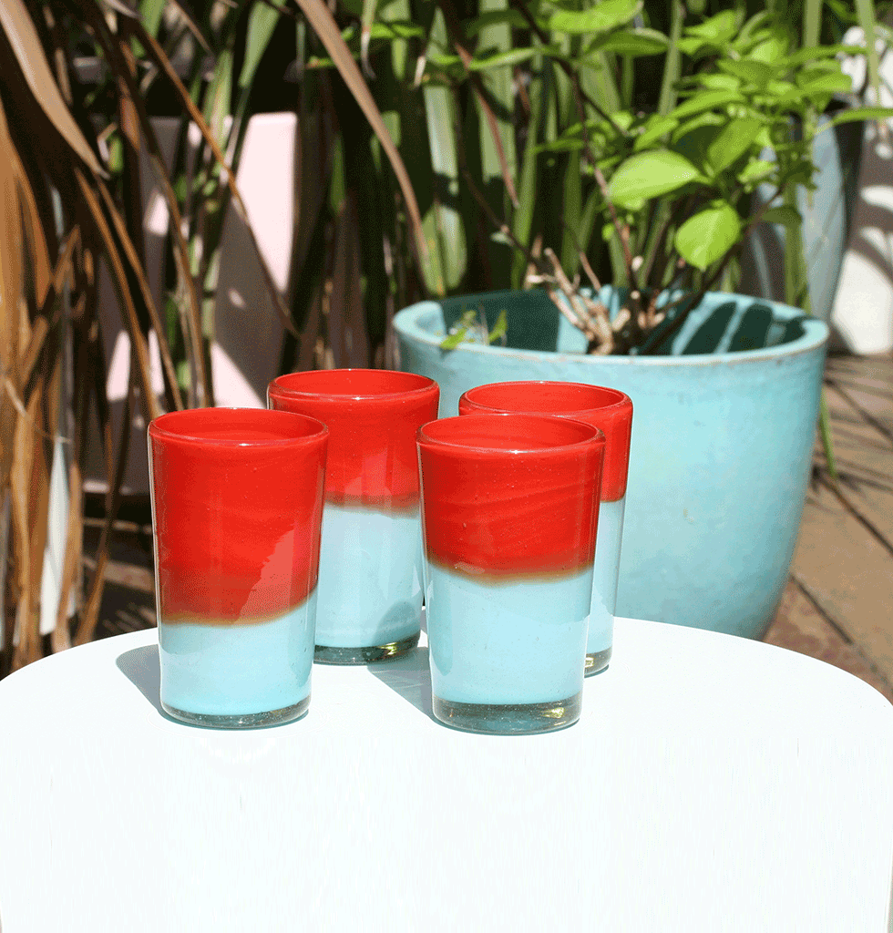 MILKY TURQUOISE AND RED MEXICAN TUMBLERS Milagros outside
