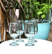 MEXICAN CLEAR TULIP WINE GLASSES MILAGROS
