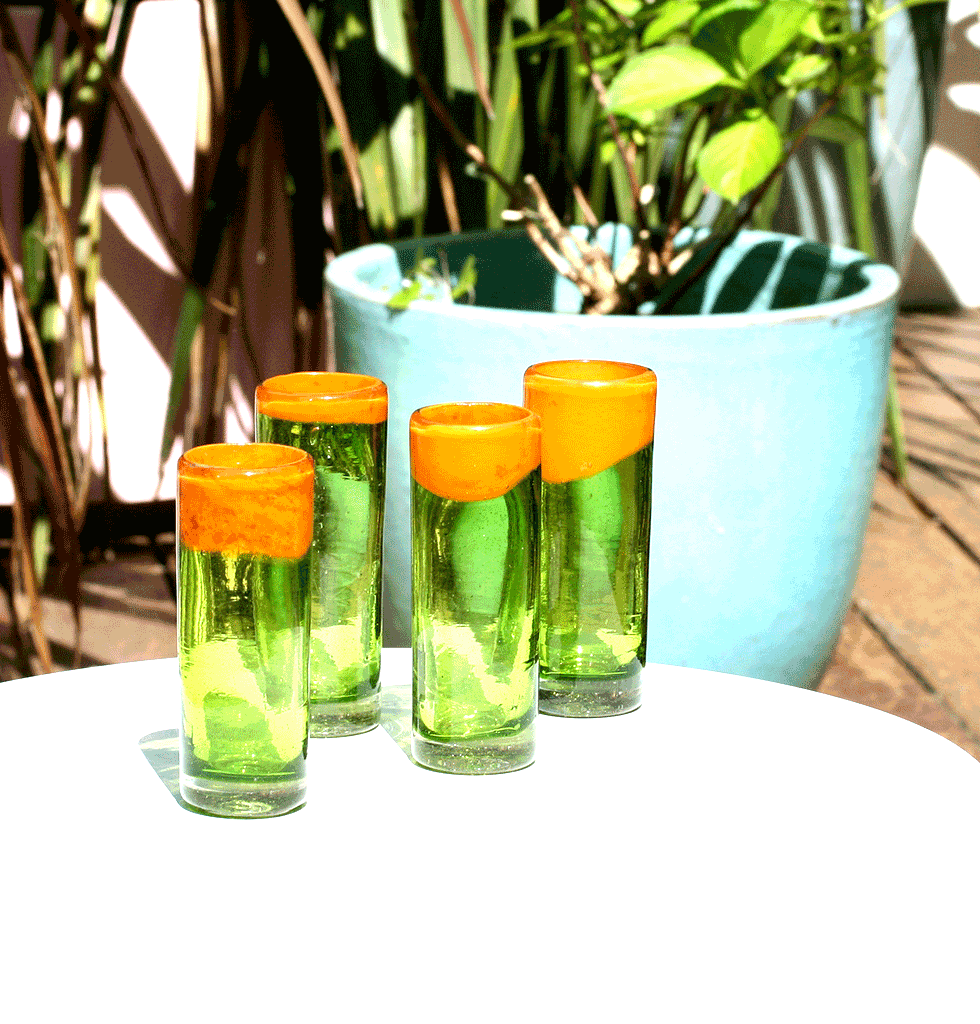 W.A.GREEN | MEXICAN GLASSWARE | MEXICAN TALL TEQUILA SHOT GLASSES ORANGE AND GREEN. wagreen.co.uk