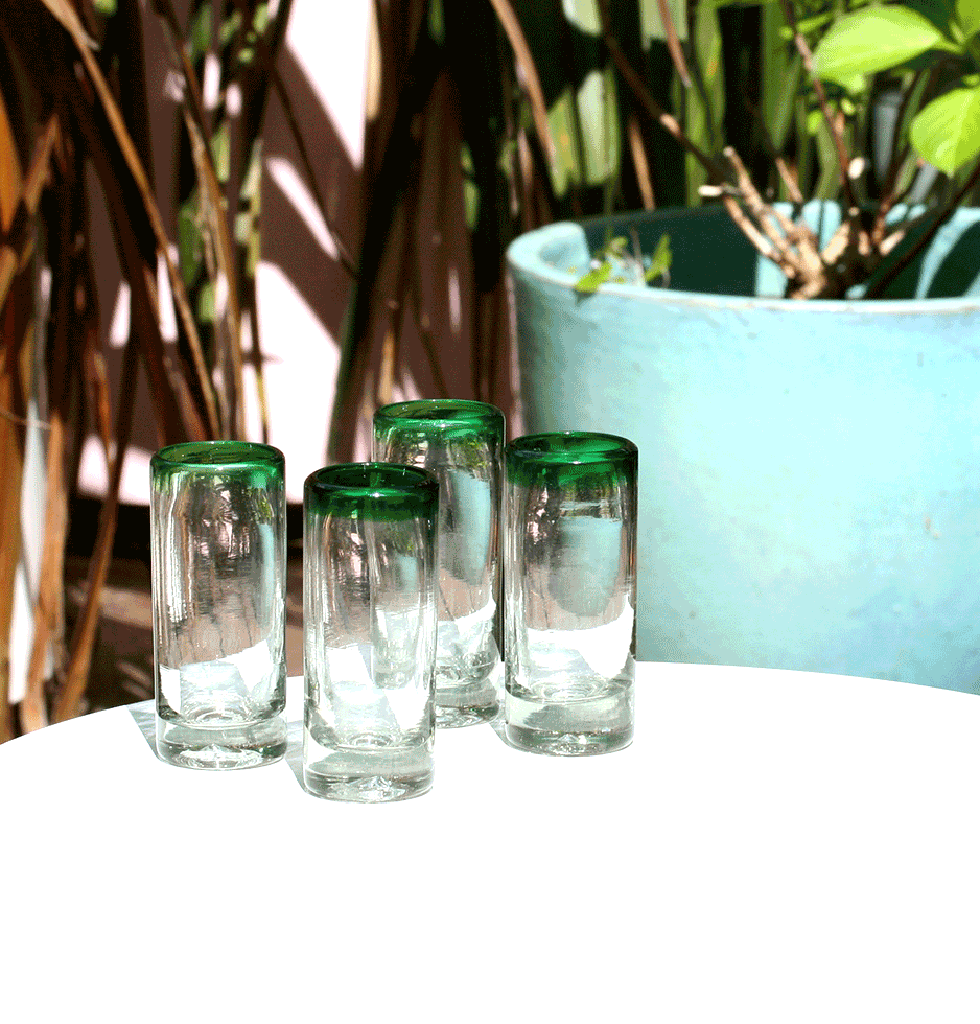 MEXICAN TEQUILA SHOT GLASS WITH GREEN RIMS