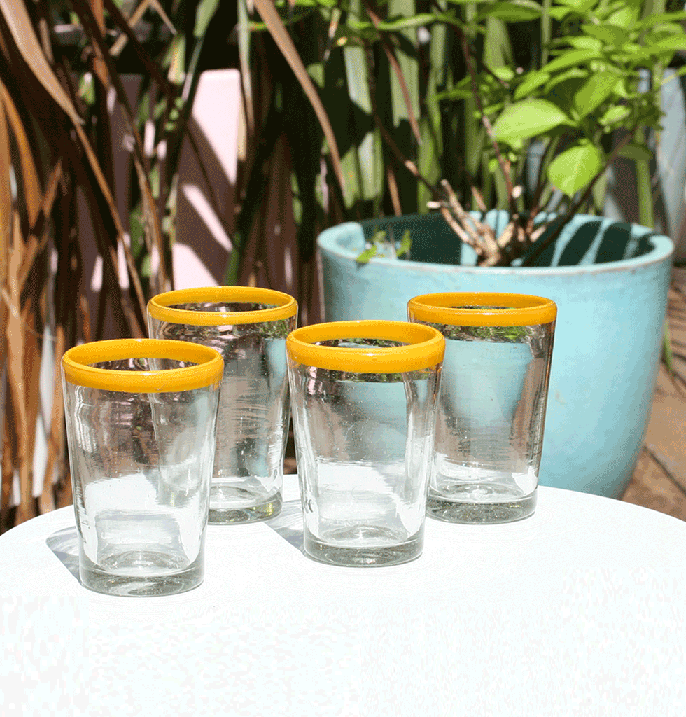 MEXICAN MILAGROS CLEAR GLASS TUMBLERS WITH YELLOW RIM