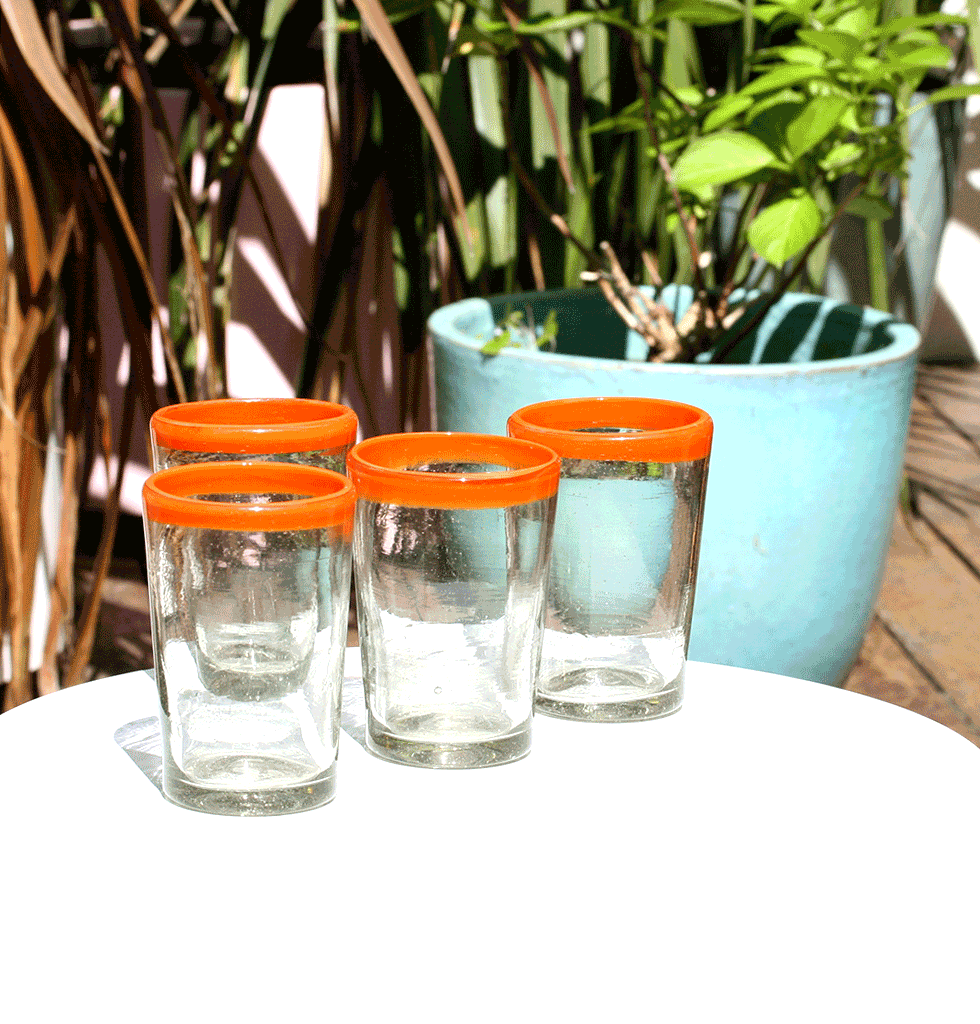 MEXICAN MILAGROS CLEAR GLASS TUMBLERS WITH ORANGE RIM