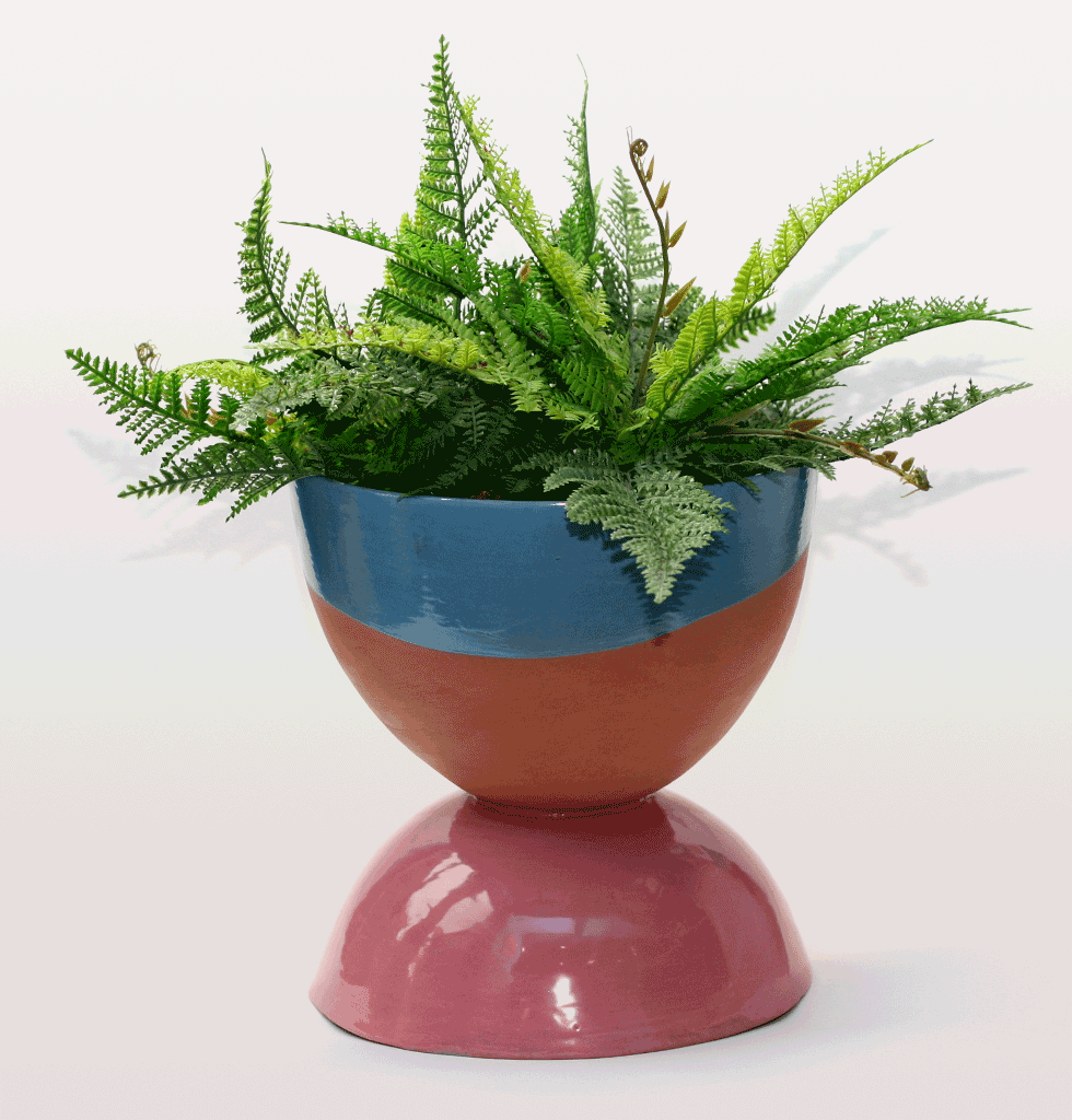 Blue and pink modern terracotta planter for house or garden terrace
