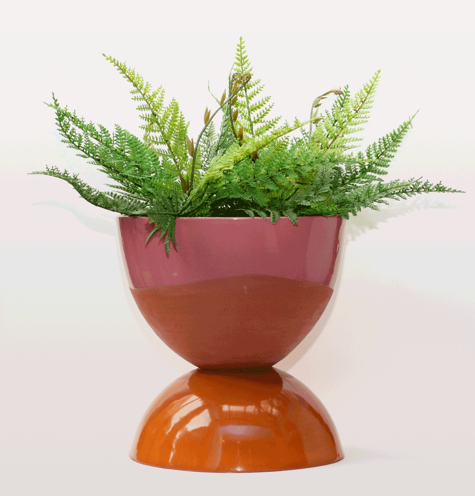 pink and orange hand made terracotta designer planter by Tina Vaia