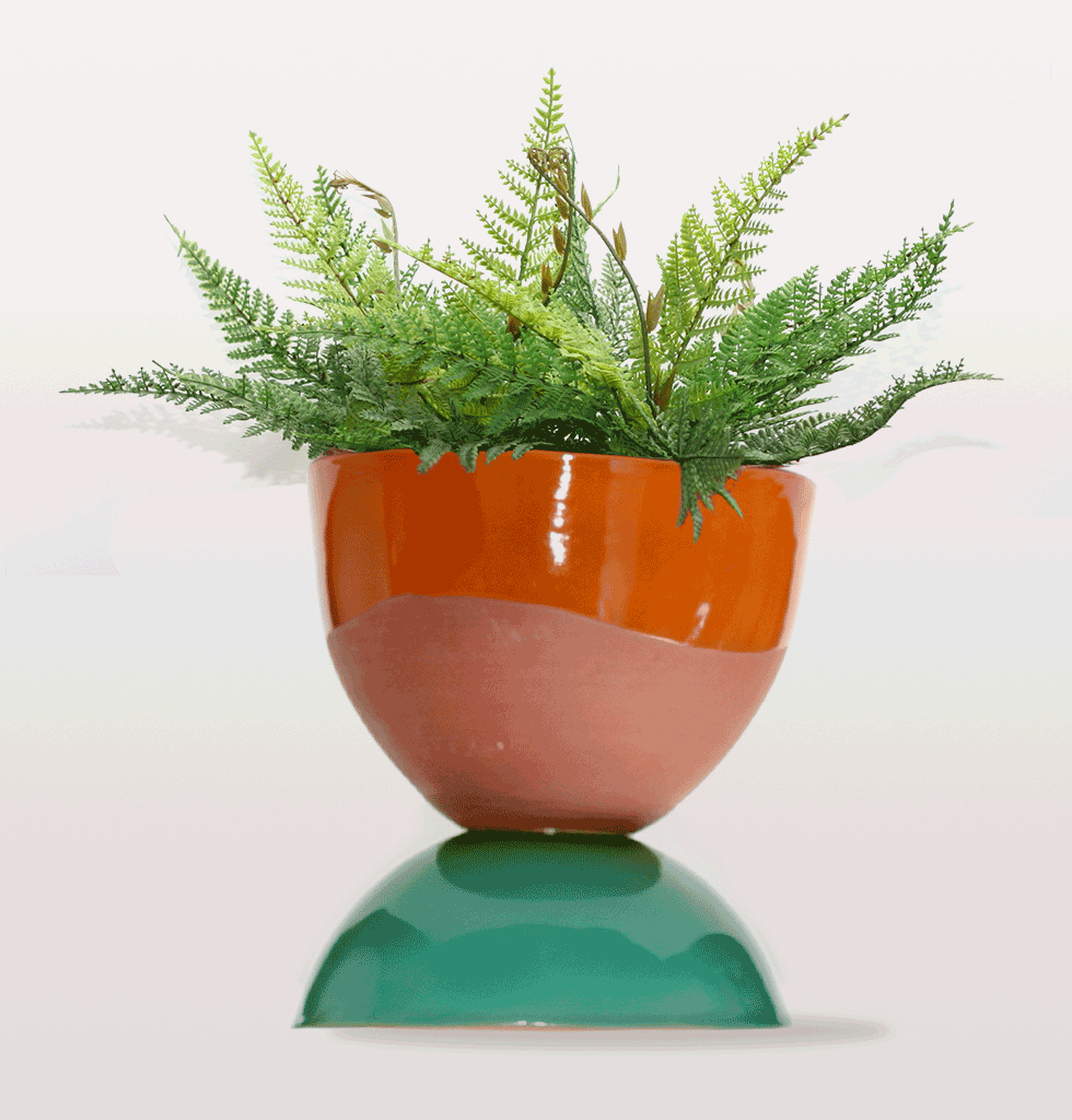 GREEN & ORANGE CHUBBY EGG CUP PLANT POT MEDIUM