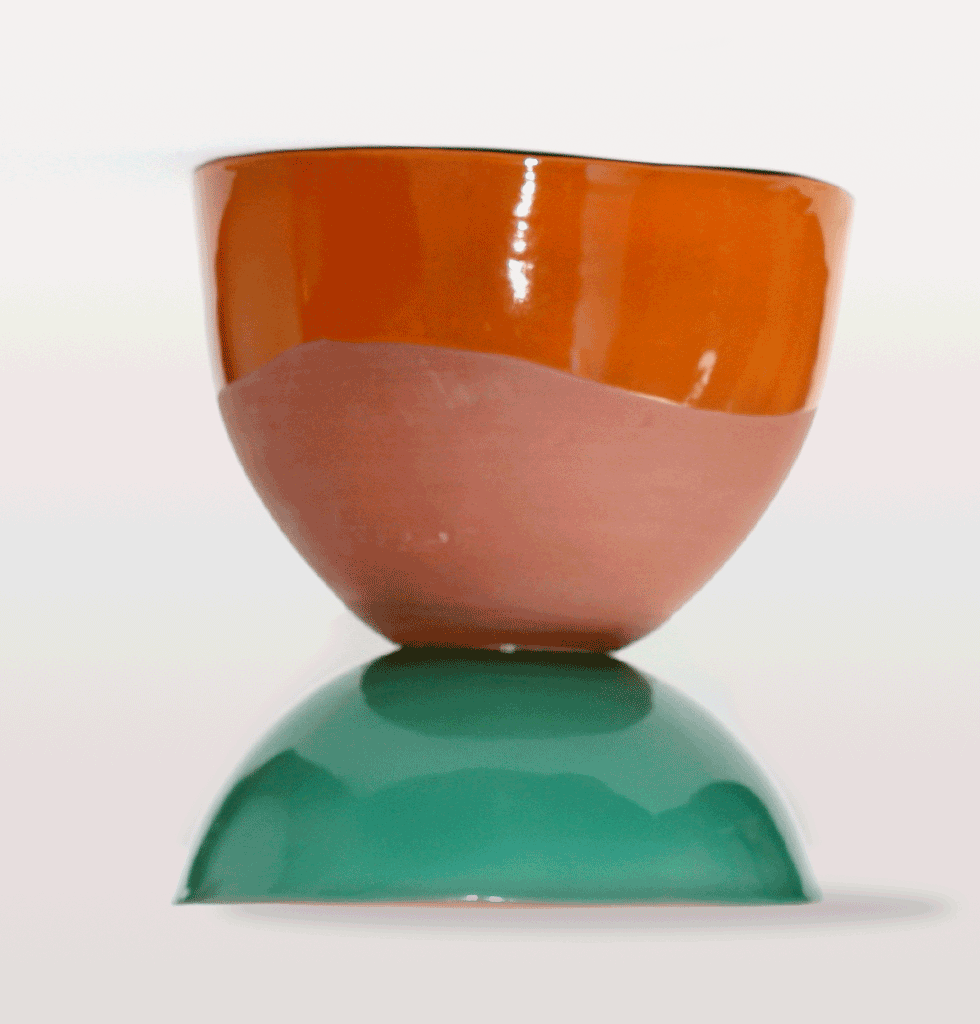 Green and orange terracotta chubby planter by Tina Vaia