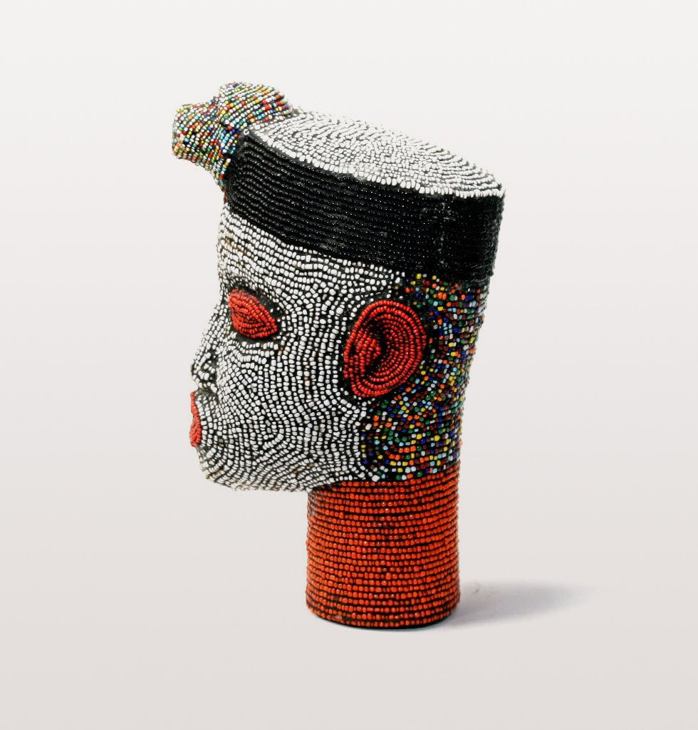W.A.GREEN | AFRICAN IFE HEADS | DECORATED BEADED HEAD CAMEROON
