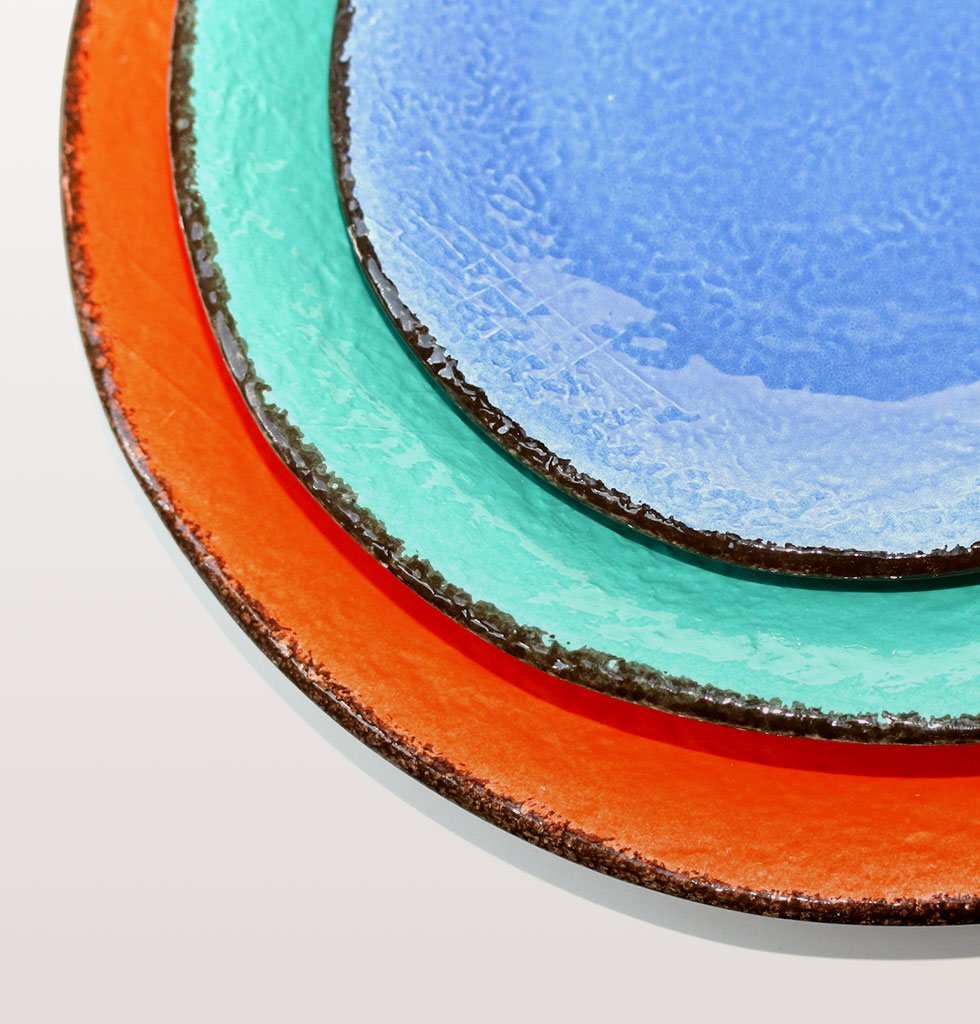 W.A.GREEN | RAINBOW BRIGHT MAJOLICA TABLEWARE SET | ROUND PLATTER