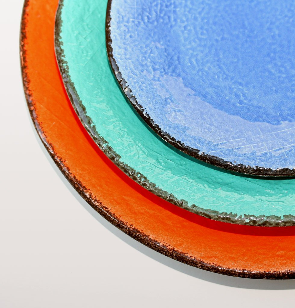 W.A.GREEN | RAINBOW BRIGHT MAJOLICA TABLEWARE SET | ROUND SERVING PLATE