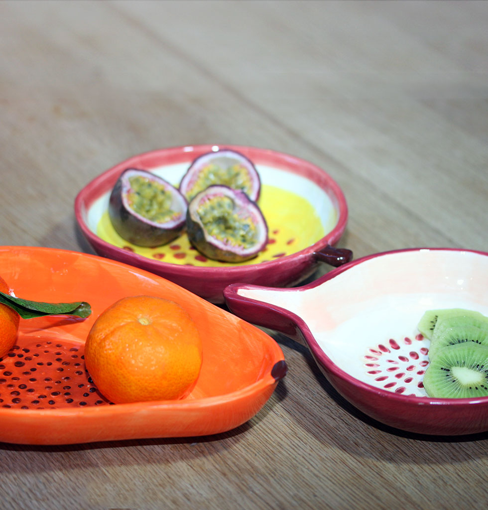 W.A.GREEN | ORANGE PAPAYA FRUIT SHAPED SERVING BOWL