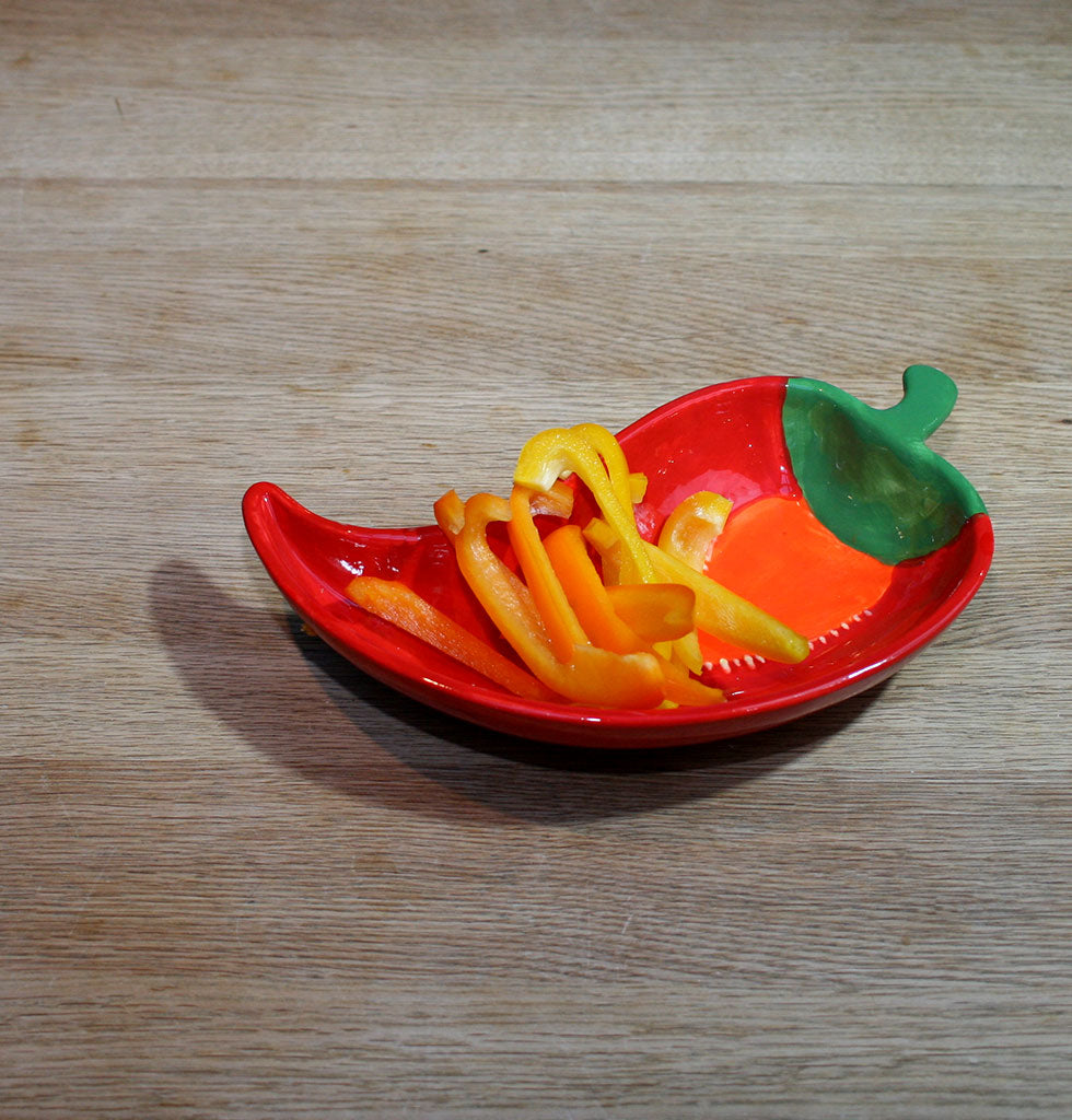 W.A.GREEN | RED CHILLI PEPPER SHAPED SERVING BOWL