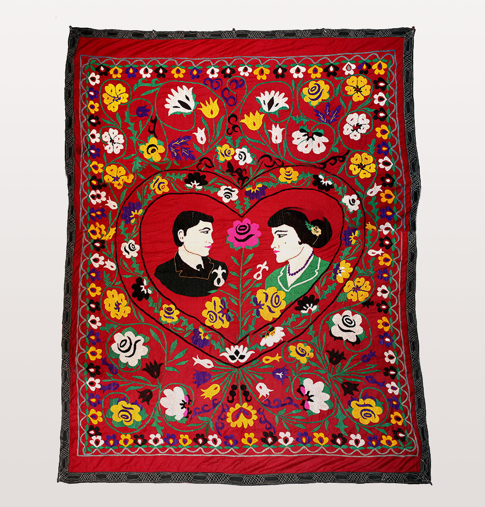 Vintage wedding couple suzani wall tapestry. Hand embroidered suzani wall hanging. Unique wedding couple gift for the couple who has everything. £395 wagreen.co.uk