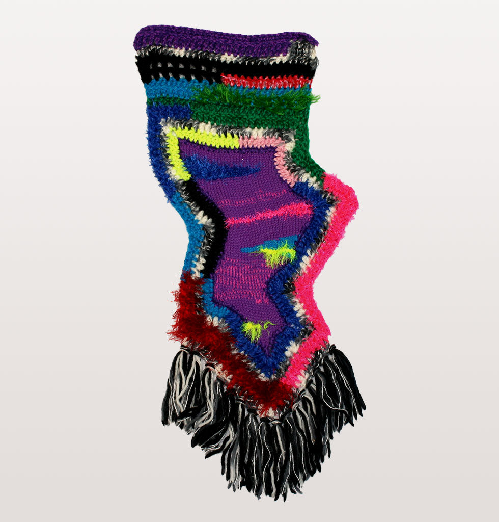 Zig zag thing by Paris Essex. Hand knitted wall hanging with tassels. Multi coloured wool wall hanging