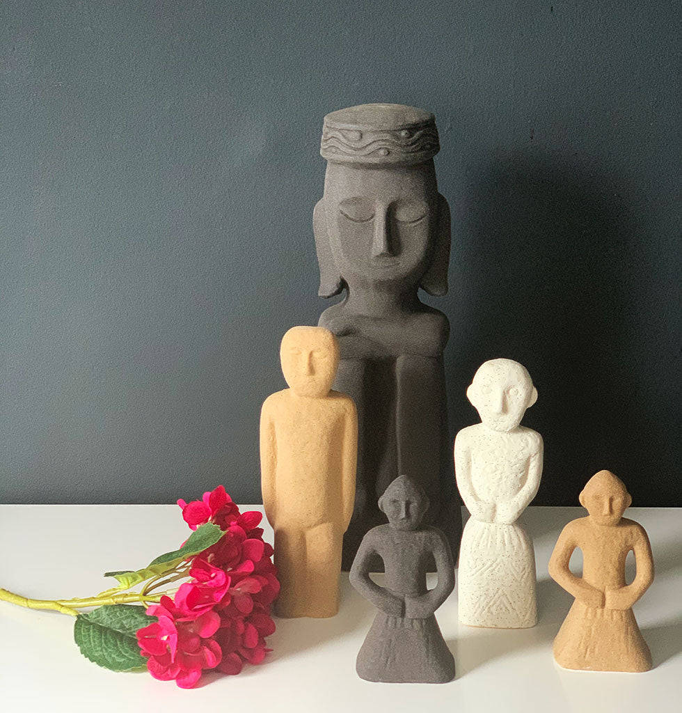 Stoneware statues by Madam Stoltz. Inca inspired statues in stone terracotta
