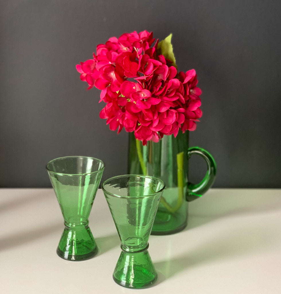 Recycled green glass jug and wine glasses by Madam Stoltz.