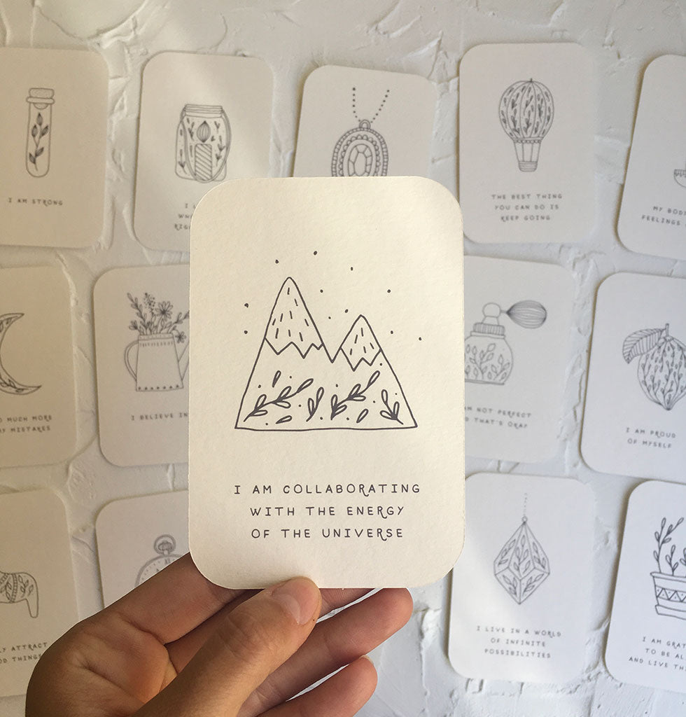 Daily affirmation cards.  Start your day the right way with a beautiful set of affirmation cards.   This deck of 20 affirmation cards promote self-love and happiness. Simple, encouraging messages with lovingly hand-drawn illustrations. They're great for a daily mental boost.