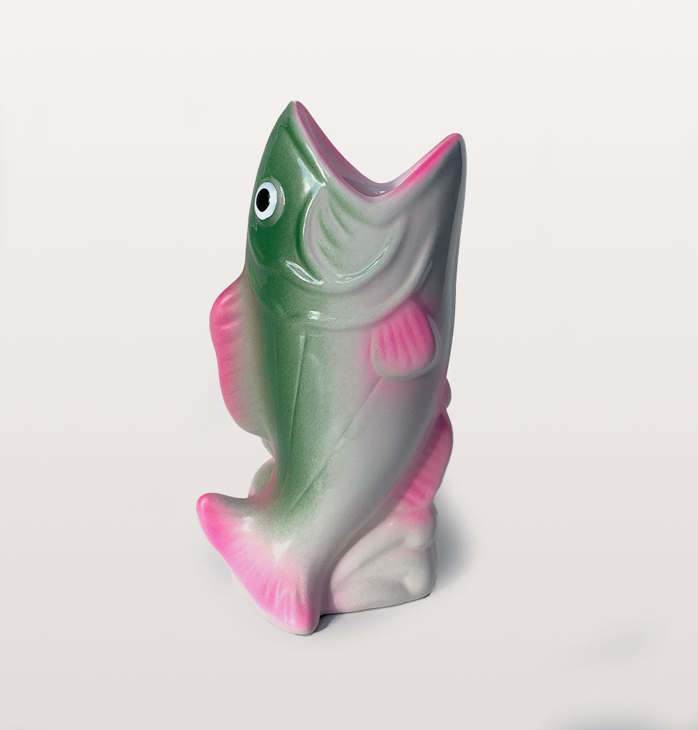 Koi carp fish candle holders in neon pink and green ceramic by Kitsch Kitchen